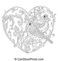 stylized twigs with leaves and flowers in the shape of a heart.