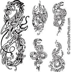 stylized two-headed dragons