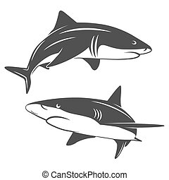 Stylized two sharks - Monochrome illustration of stylized...