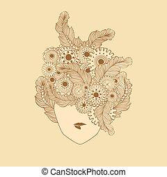 stylized, vara, damen, begrepp, konst, kvinna, fjäderrar, face., använd, hår sätt, frisersalong, kan, logo, gear-wheels., teknologi, elementara, design.