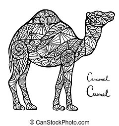 Stylized vector camel, zentangle isolated on white...