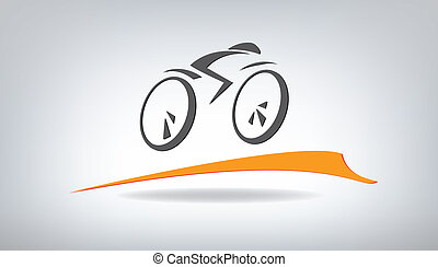 stylized, vector, fiets, illustratie