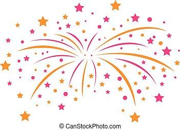 stylized vector fireworks