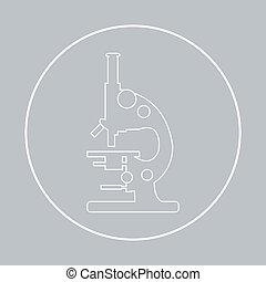 Stylized vector icon of microscope. Laboratory equipment symbol.