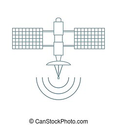 Stylized vector icon of space satellite.