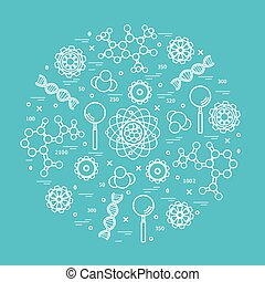 Stylized vector icon of variety scientific, education elements.