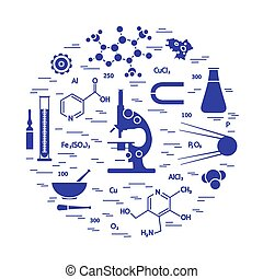 Stylized vector icon of variety scientific, education...