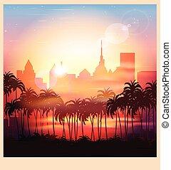 a city at sunrise