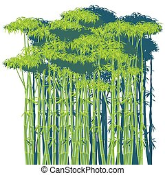 bamboo thickets - stylized vector illustration of a dense...