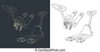 Hand pallet truck - Stylized vector illustration of a Hand ...