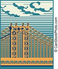 bridge - Stylized vector illustration of a large...