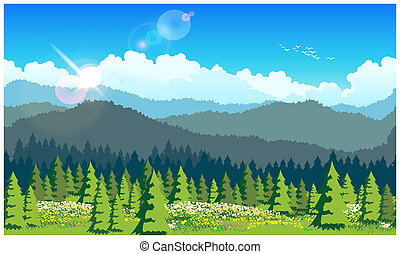 picturesque forest - Stylized vector illustration of a ...