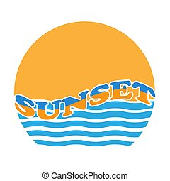 Stylized vector illustration of a sea sunset.