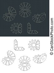 Bevel Gear Module Drawings - Stylized vector illustration of...