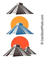 pyramids - Stylized vector illustration of ancient Mayan...