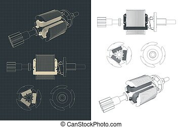 Stylized vector illustration of DC motor rotor drawings