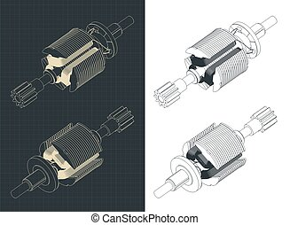 Stylized vector illustration of DC motor rotor isometric drawings