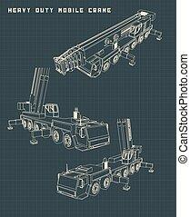 Heavy Duty Mobile Crane - Stylized Vector illustration of ...