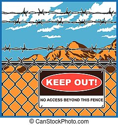 restricted area - Stylized vector illustration of restricted...