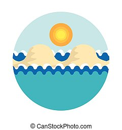 Stylized vector illustration of sea with waves, with sandy islands under the sky with shining tropical sun