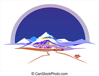 Stylized vector illustration of mountains