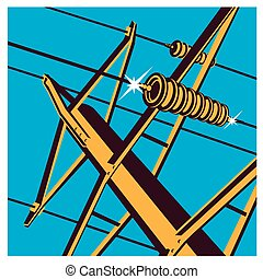 power lines - Stylized vector illustration on the theme of...