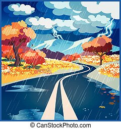 Autumn rainy road