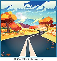 Autumn road - Stylized vector illustration on the theme of ...