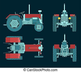 Stylized vector illustrations of a cartoon Tractor colorful blueprints