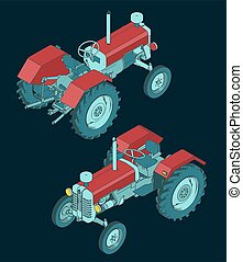 Stylized vector illustrations of a cartoon Tractor isometric view
