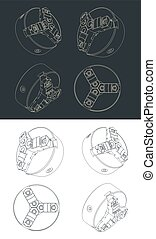 Lathe Chuck Drawings - Stylized vector illustrations of ...