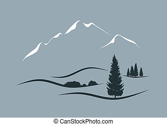 stylized, vector, landscape, illustratie, alpien