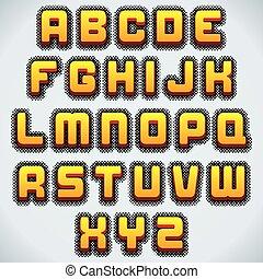 stylized, vector, retro, font.