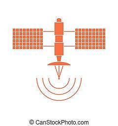 stylized, vector, satellite., pictogram, ruimte