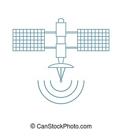 stylized, vector, satellite., pictogram, ruimte