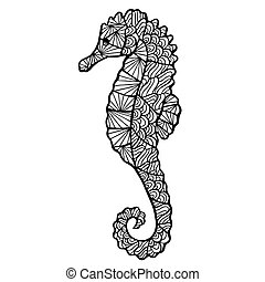Stylized vector sea horse, zentangle isolated on white background. Sea collection for your design.