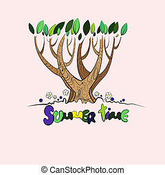 Stylized vector summer tree