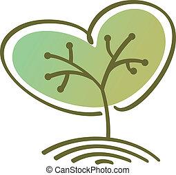 Stylized vector tree heart shaped