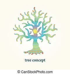 Stylized vector tree illustration with pattern inside. Design element for logo, background and poster.