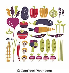Stylized vector vegetables set