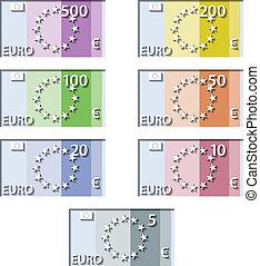 stylized, vektor, lagförslag, sedlar, papper, euro