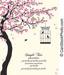 stylized, vektor, träd