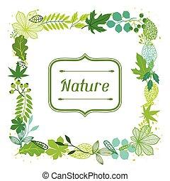 stylized, verde, leaves., fundo