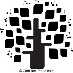 stylized, vetorial, pretas, árvore