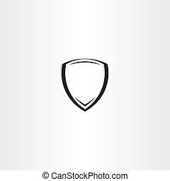 stylized, vetorial, pretas, escudo, ícone