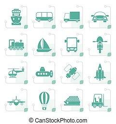 stylized, viagem, transporte, remessa, ícones