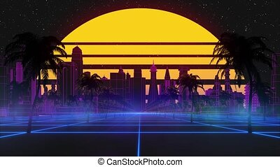 Stylized vintage 3D animation background with modern city, palm trees, sun and glowing stars. 80s retro futuristic sci-fi seamless loop. Retro wave horizon landscape, neon lights. Seamless loop