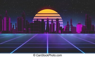 Stylized vintage 3D animation background with modern city, sun and glowing stars. 80s retro futuristic sci-fi seamless loop. Retro wave horizon landscape, neon lights. Seamless loop