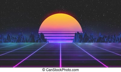 Stylized vintage 3D animation background with mountains, sun and glowing stars. 80s retro futuristic sci-fi seamless loop. Retro wave horizon landscape, neon lights. Seamless loop