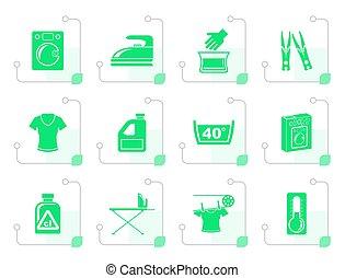 Stylized Washing machine and laundry icons